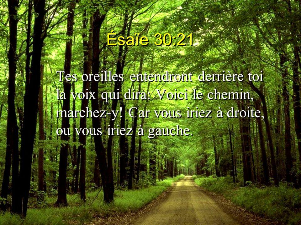 Ésaïe 30:21 Tes oreilles entendront derrière toi la voix qui dira: Voici le chemin, marchez-y.