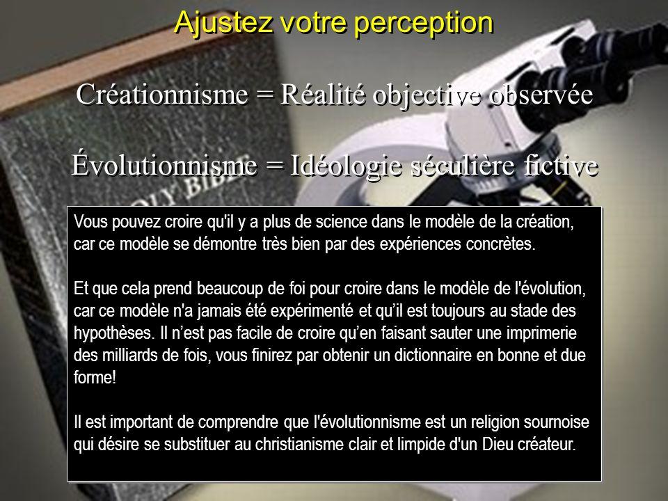 Ajustez votre perception Créationnisme = Réalité objective observée