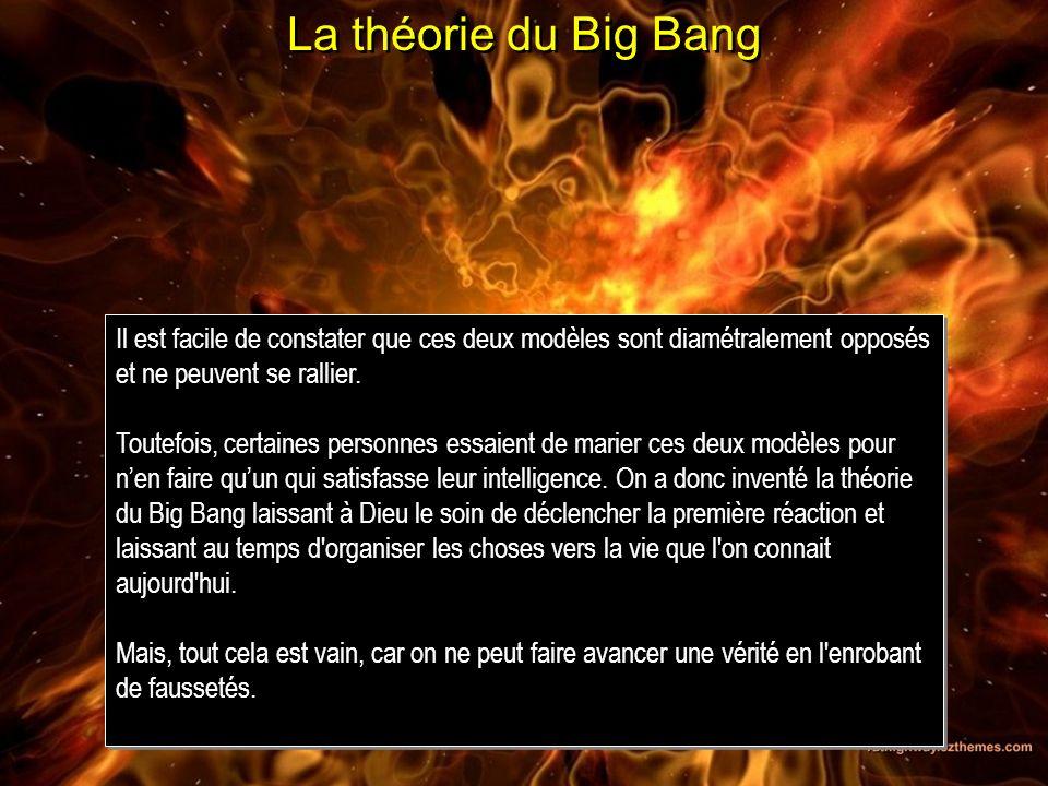 La théorie du Big BangIl est facile de constater que ces deux modèles sont diamétralement opposés et ne peuvent se rallier.