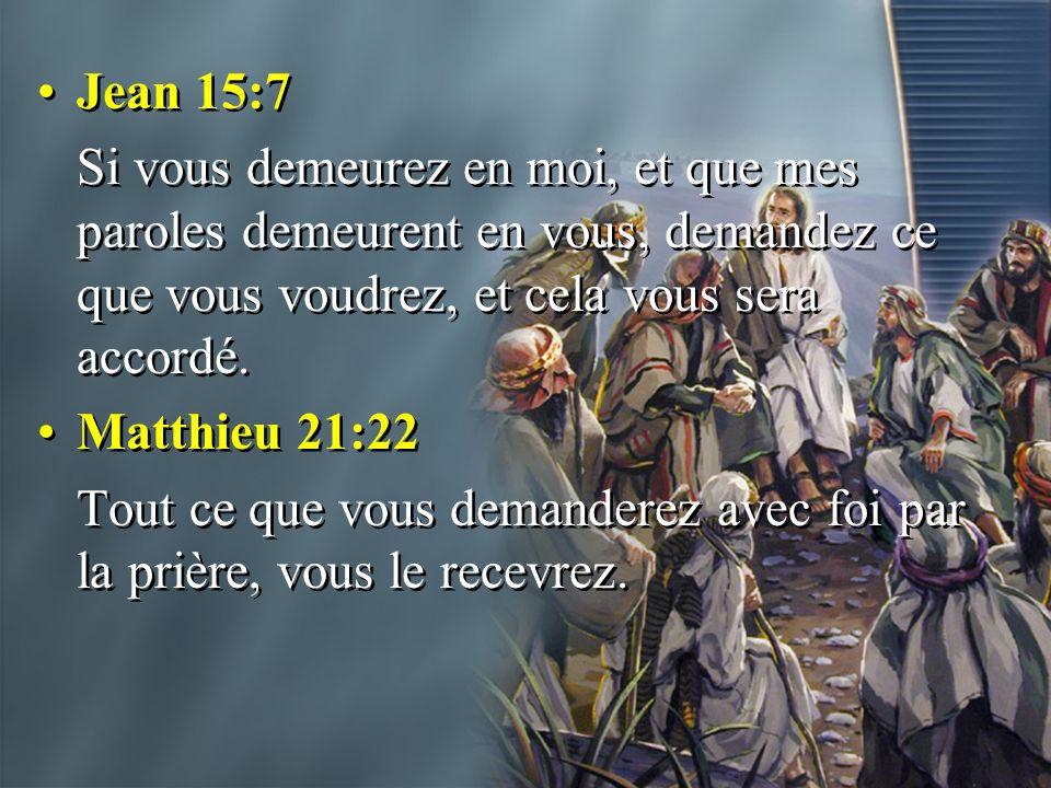 Jean 15:7 Si vous demeurez en moi, et que mes paroles demeurent en vous, demandez ce que vous voudrez, et cela vous sera accordé.
