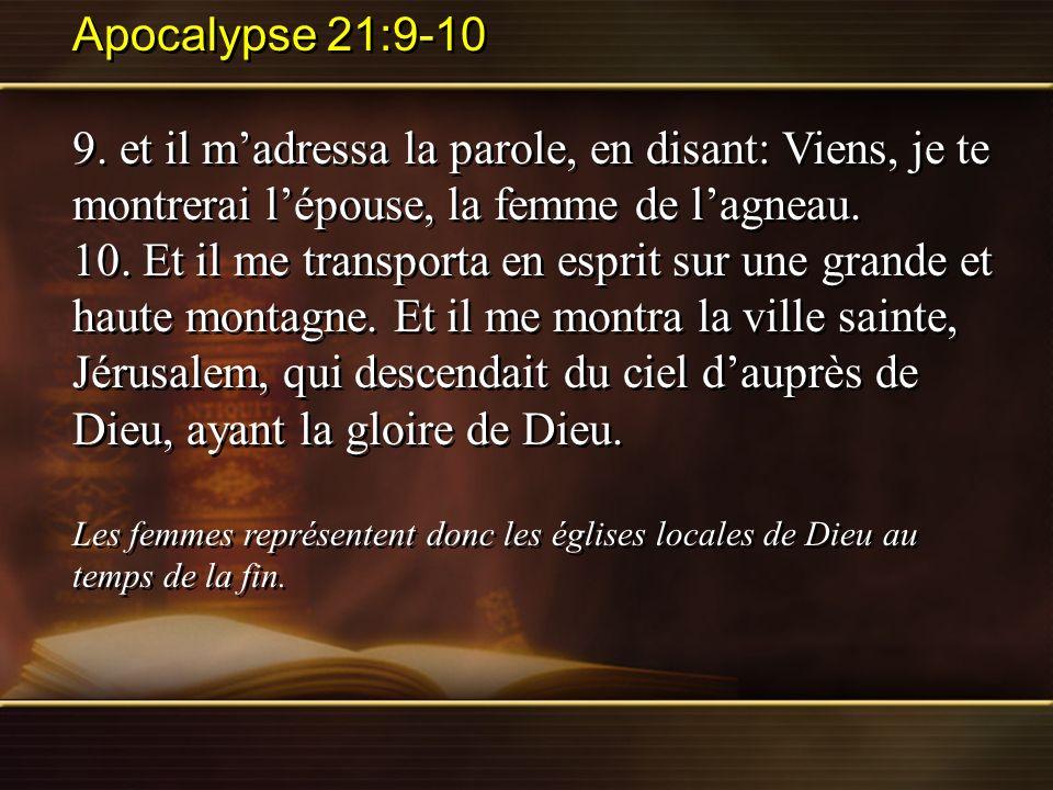Apocalypse 21:9-10 9. et il m'adressa la parole, en disant: Viens, je te montrerai l'épouse, la femme de l'agneau.