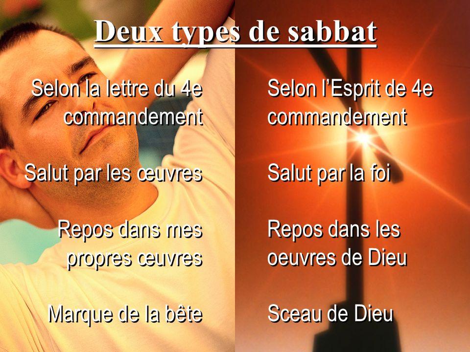 Deux types de sabbat Selon la lettre du 4e commandement