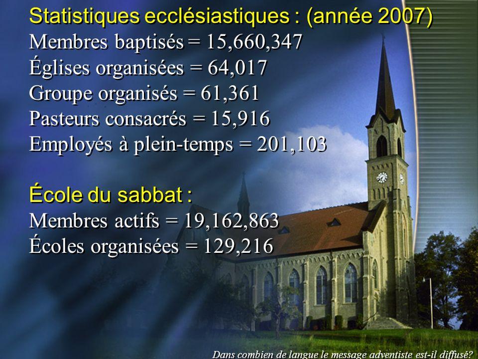 Statistiques ecclésiastiques : (année 2007)