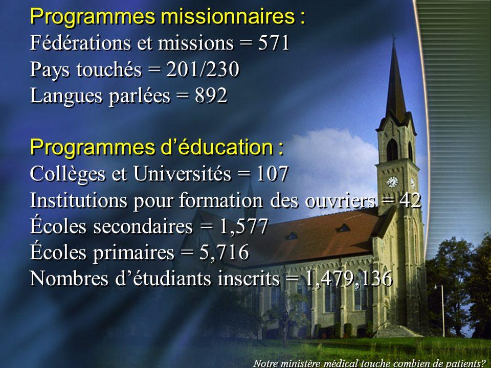 Programmes missionnaires : Fédérations et missions = 571