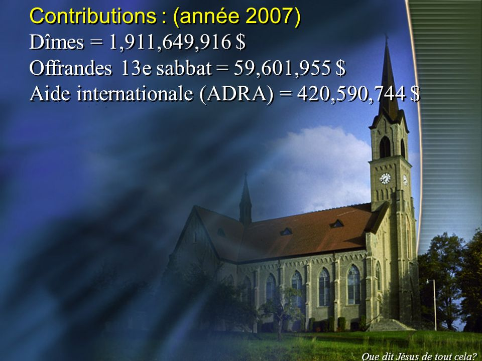 Contributions : (année 2007) Dîmes = 1,911,649,916 $