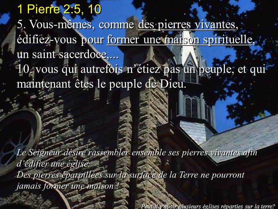 1 Pierre 2:5, 10 5. Vous-mêmes, comme des pierres vivantes, édifiez-vous pour former une maison spirituelle, un saint sacerdoce,...