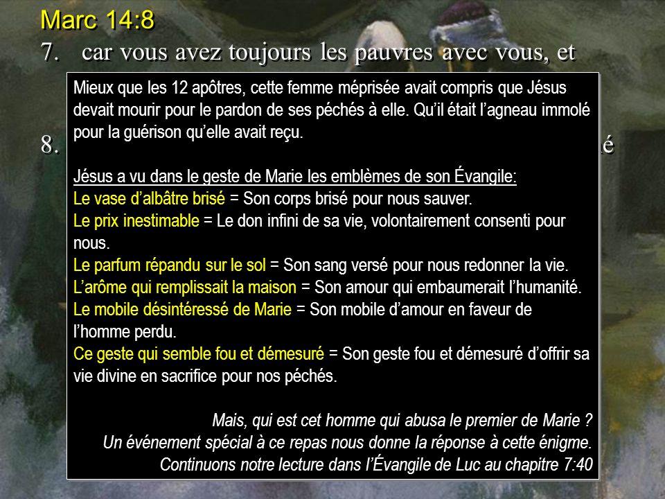Marc 14:8 7. car vous avez toujours les pauvres avec vous, et vous pouvez leur faire du bien quand vous voulez, mais vous ne m'avez pas toujours.