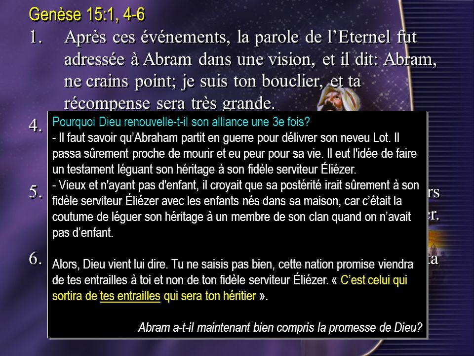 6. Abram eut confiance en l'Éternel, qui le lui imputa à justice.
