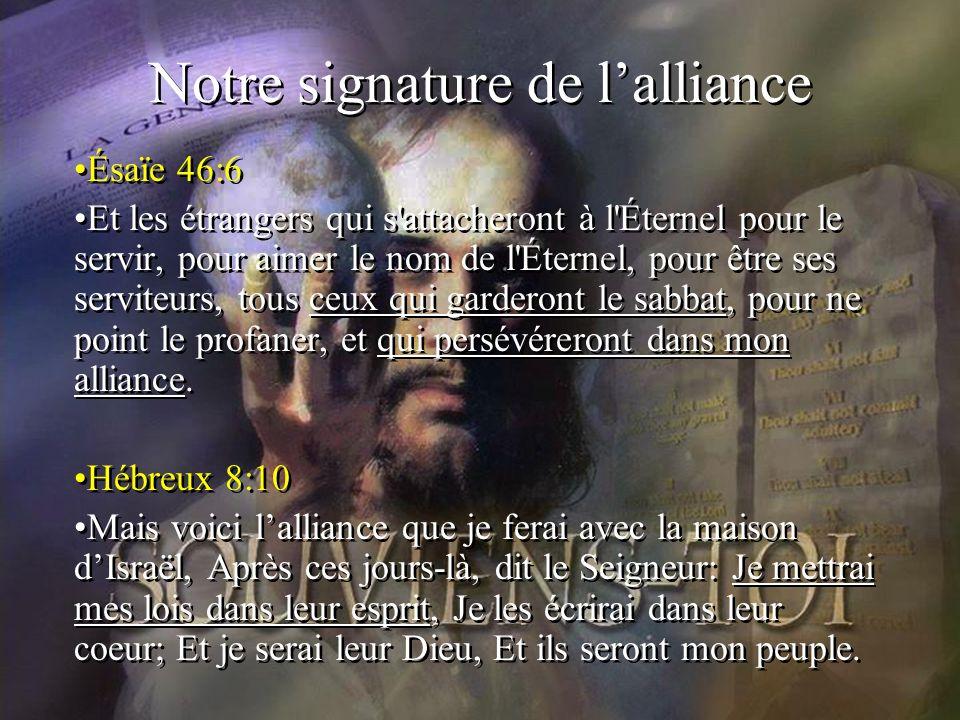 Notre signature de l'alliance