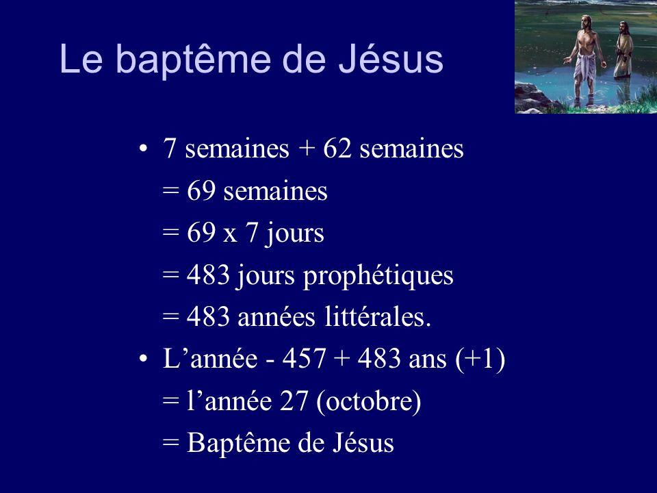 Le baptême de Jésus 7 semaines + 62 semaines = 69 semaines