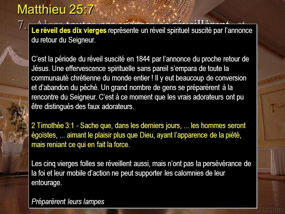 Matthieu 25:77. Alors toutes ces vierges se réveillèrent, et préparèrent leurs lampes.