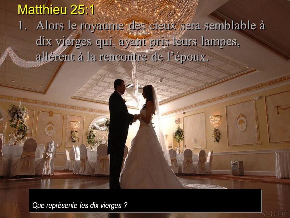 Matthieu 25:11. Alors le royaume des cieux sera semblable à dix vierges qui, ayant pris leurs lampes, allèrent à la rencontre de l'époux.