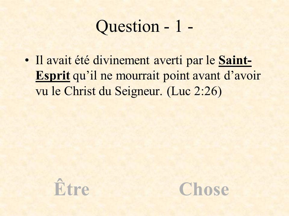 Question - 1 - Il avait été divinement averti par le Saint-Esprit qu'il ne mourrait point avant d'avoir vu le Christ du Seigneur. (Luc 2:26)
