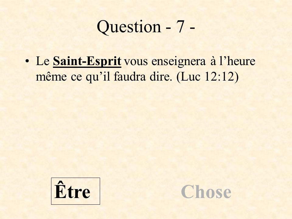 Question - 7 - Le Saint-Esprit vous enseignera à l'heure même ce qu'il faudra dire. (Luc 12:12) Être.