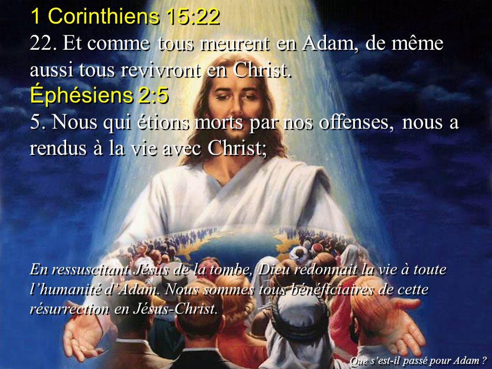 1 Corinthiens 15:22 22. Et comme tous meurent en Adam, de même aussi tous revivront en Christ. Éphésiens 2:5.