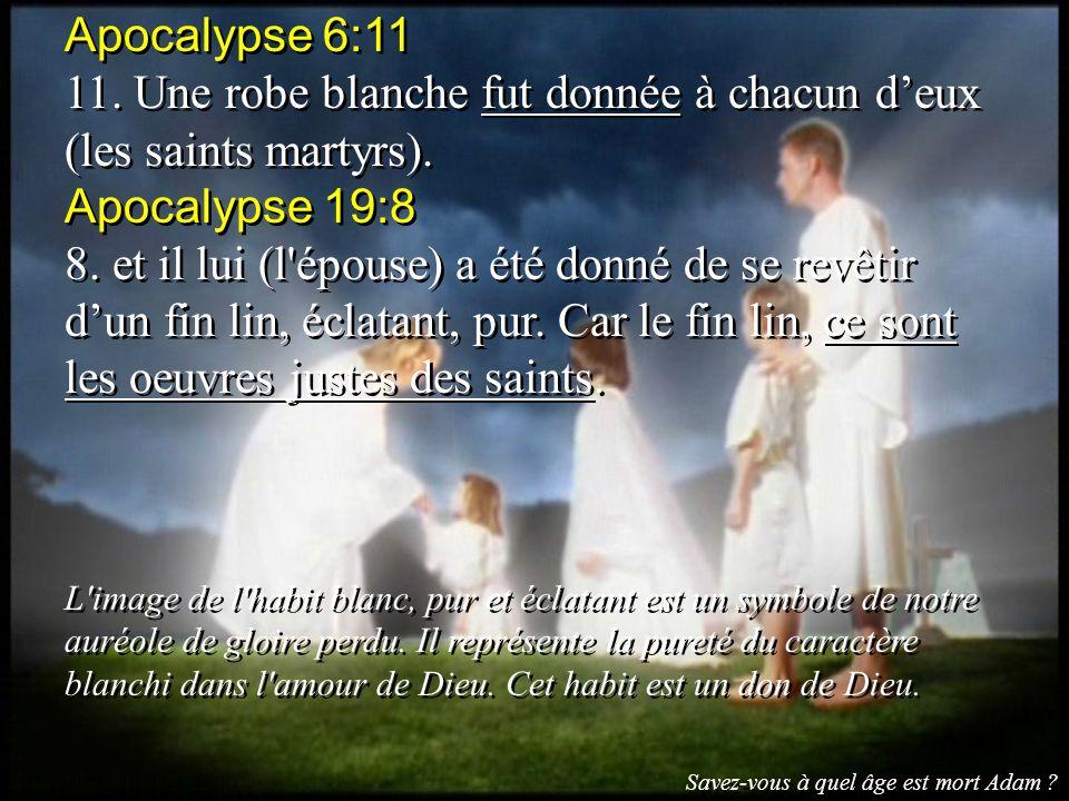 11. Une robe blanche fut donnée à chacun d'eux (les saints martyrs).