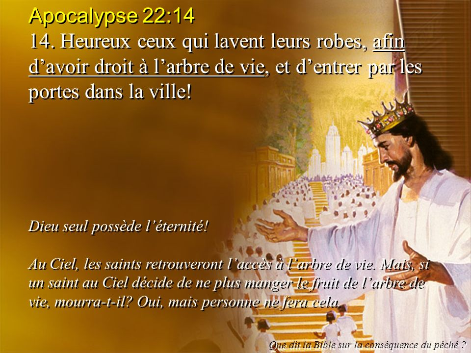 Apocalypse 22:14 14. Heureux ceux qui lavent leurs robes, afin d'avoir droit à l'arbre de vie, et d'entrer par les portes dans la ville!