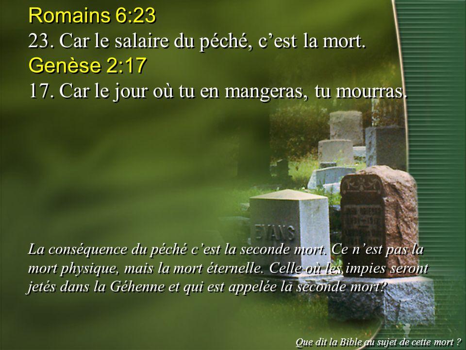 23. Car le salaire du péché, c'est la mort. Genèse 2:17