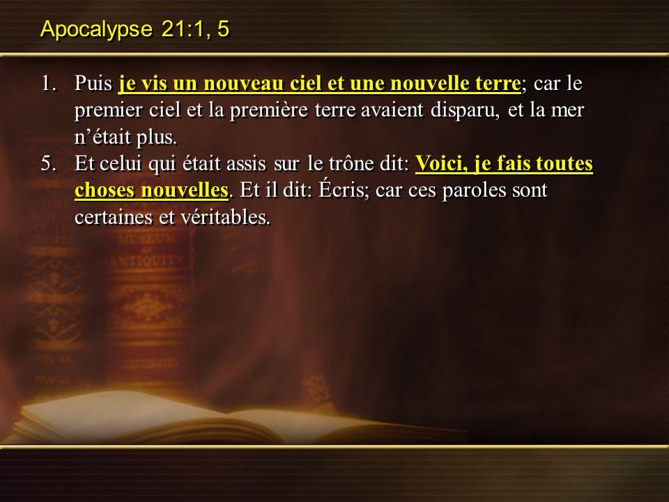 Apocalypse 21:1, 5
