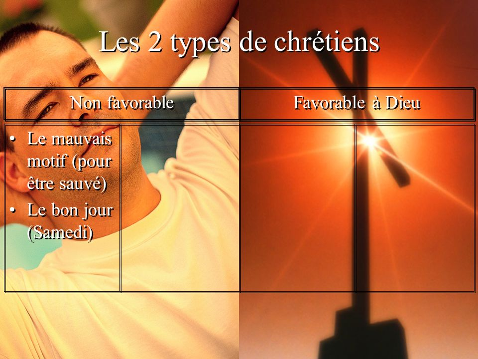 Les 2 types de chrétiens Non favorable Favorable à Dieu