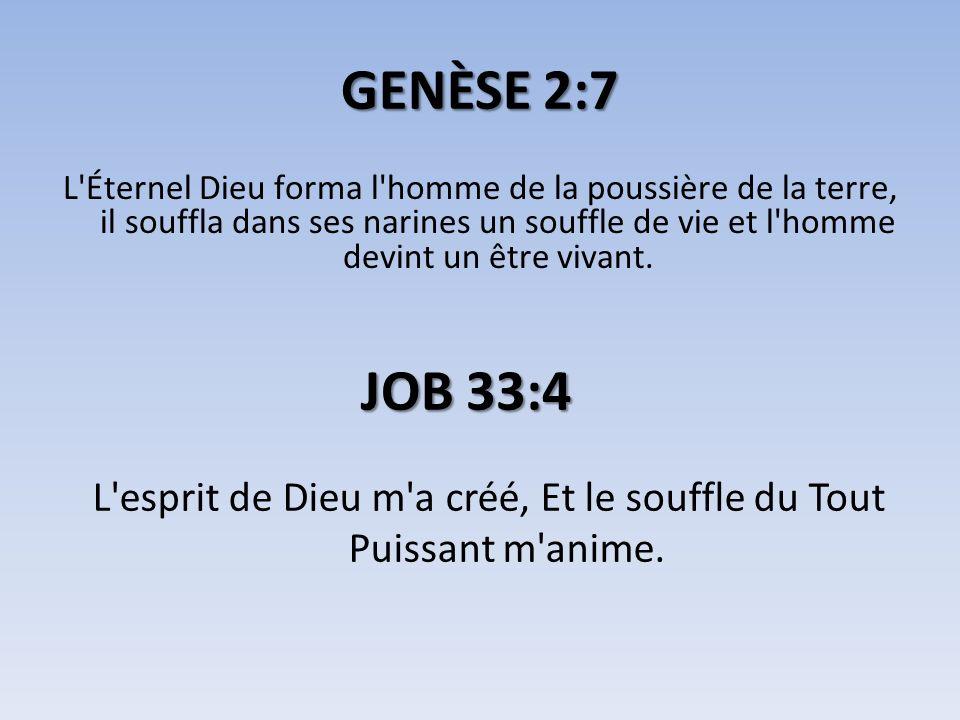 L esprit de Dieu m a créé, Et le souffle du Tout Puissant m anime.