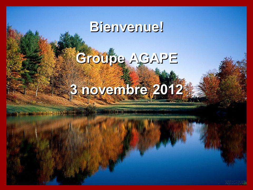 Bienvenue! Groupe AGAPE 3 novembre 2012