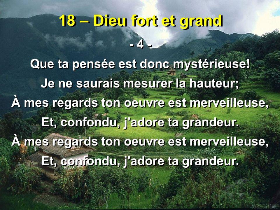 18 – Dieu fort et grand - 4 - Que ta pensée est donc mystérieuse!