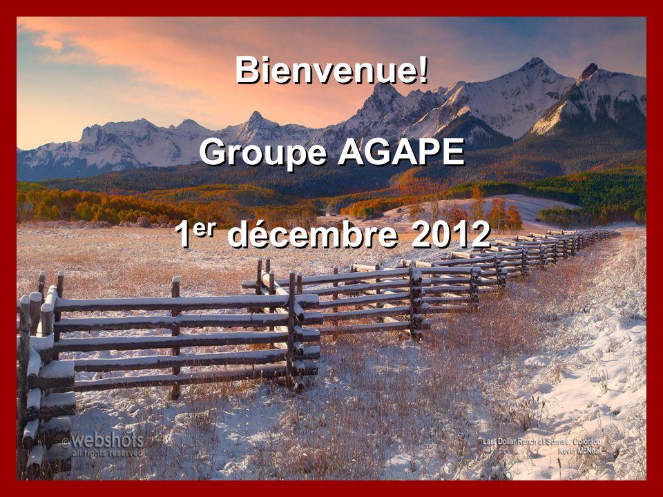 Bienvenue! Groupe AGAPE 1er décembre 2012