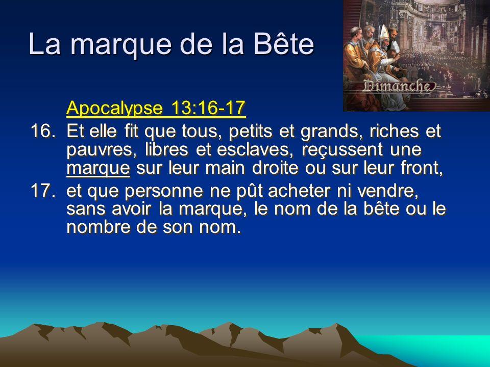 La marque de la Bête Apocalypse 13:16-17