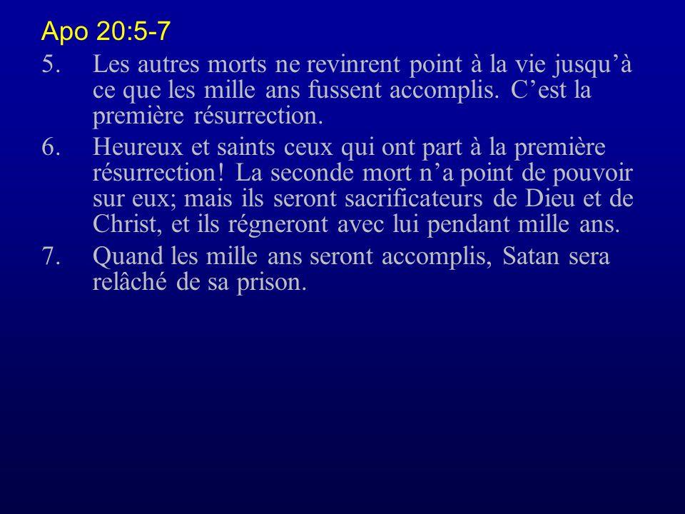 Apo 20:5-7 5. Les autres morts ne revinrent point à la vie jusqu'à ce que les mille ans fussent accomplis. C'est la première résurrection.