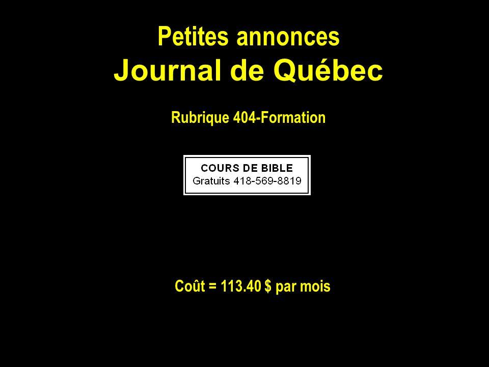 Journal de Québec Petites annonces Rubrique 404-Formation