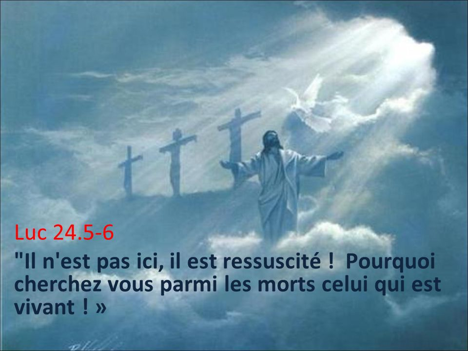 Luc 24. 5-6 Il n est pas ici, il est ressuscité