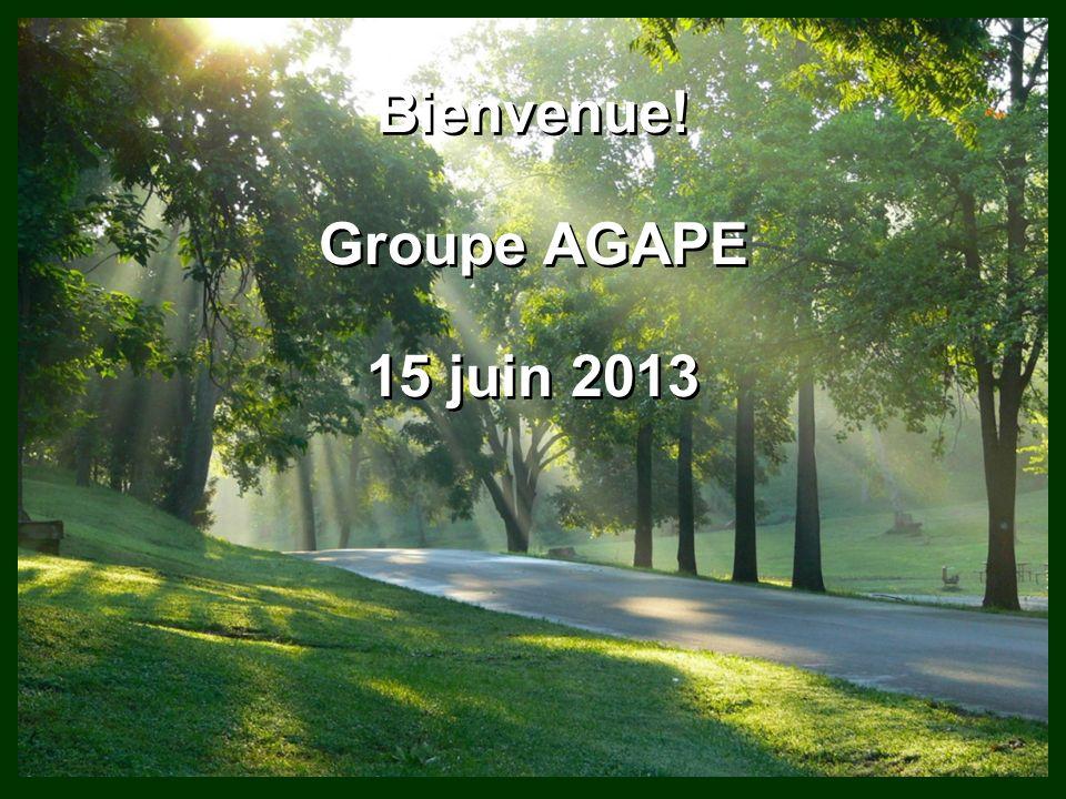Bienvenue! Groupe AGAPE 15 juin 2013