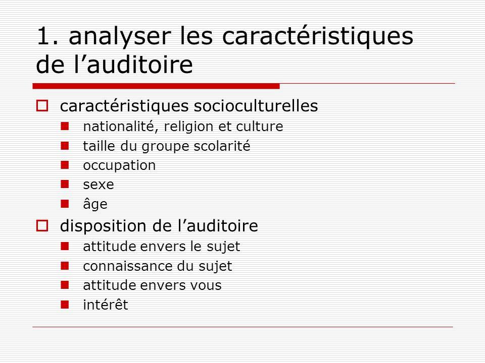 1. analyser les caractéristiques de l'auditoire