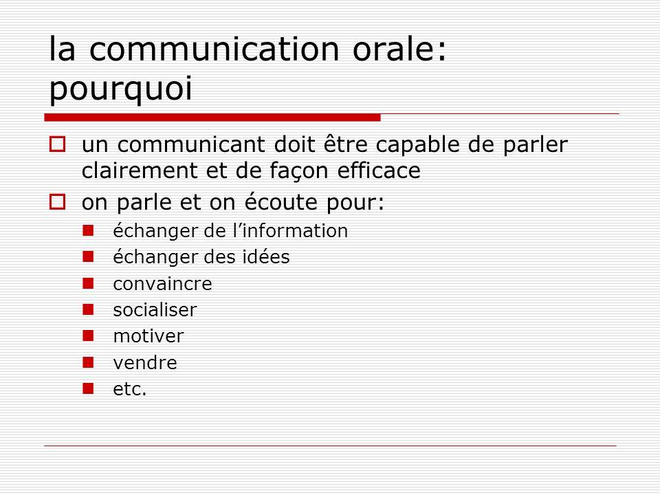la communication orale: pourquoi