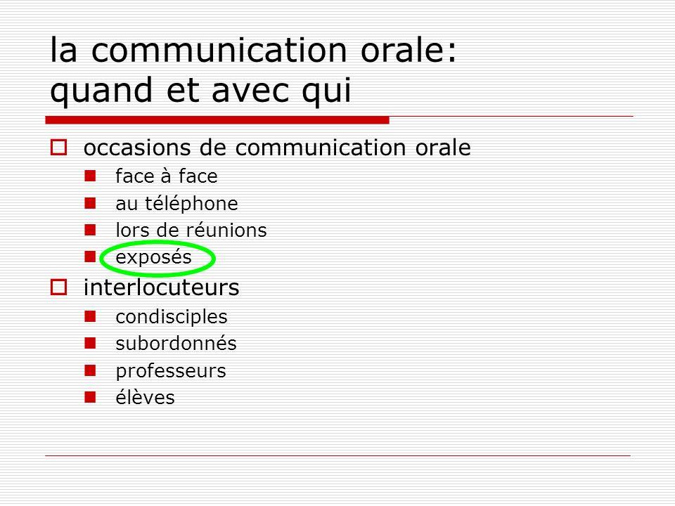 la communication orale: quand et avec qui