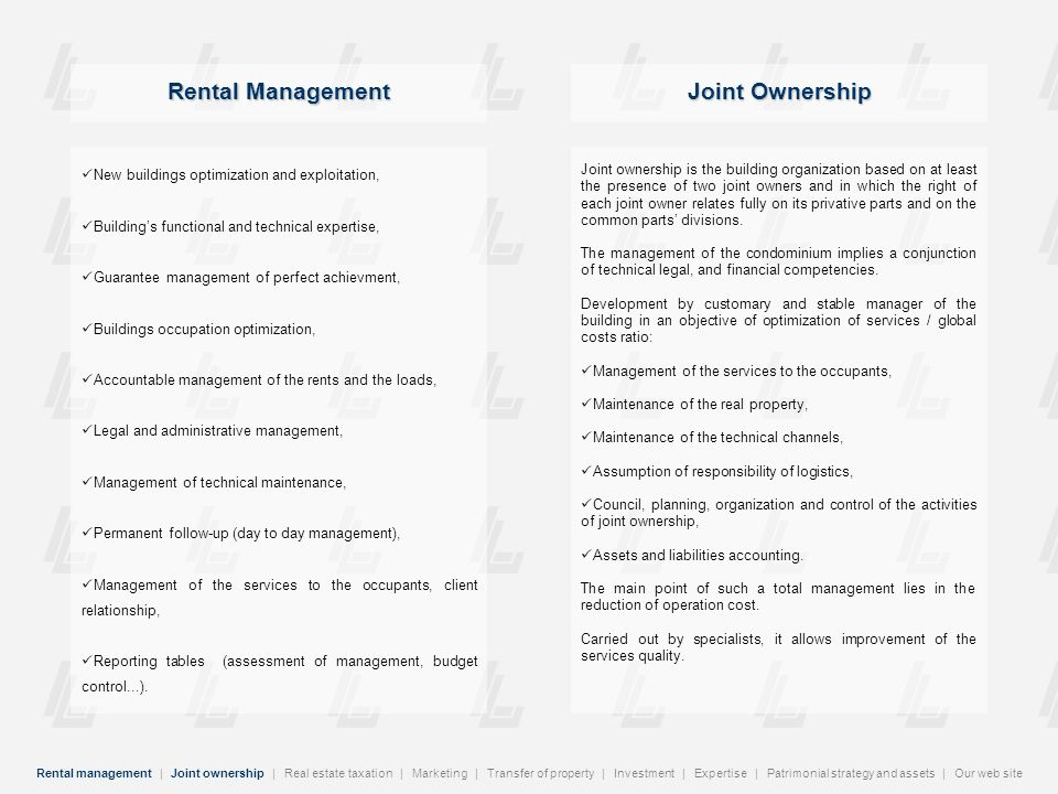 Rental Management Joint Ownership