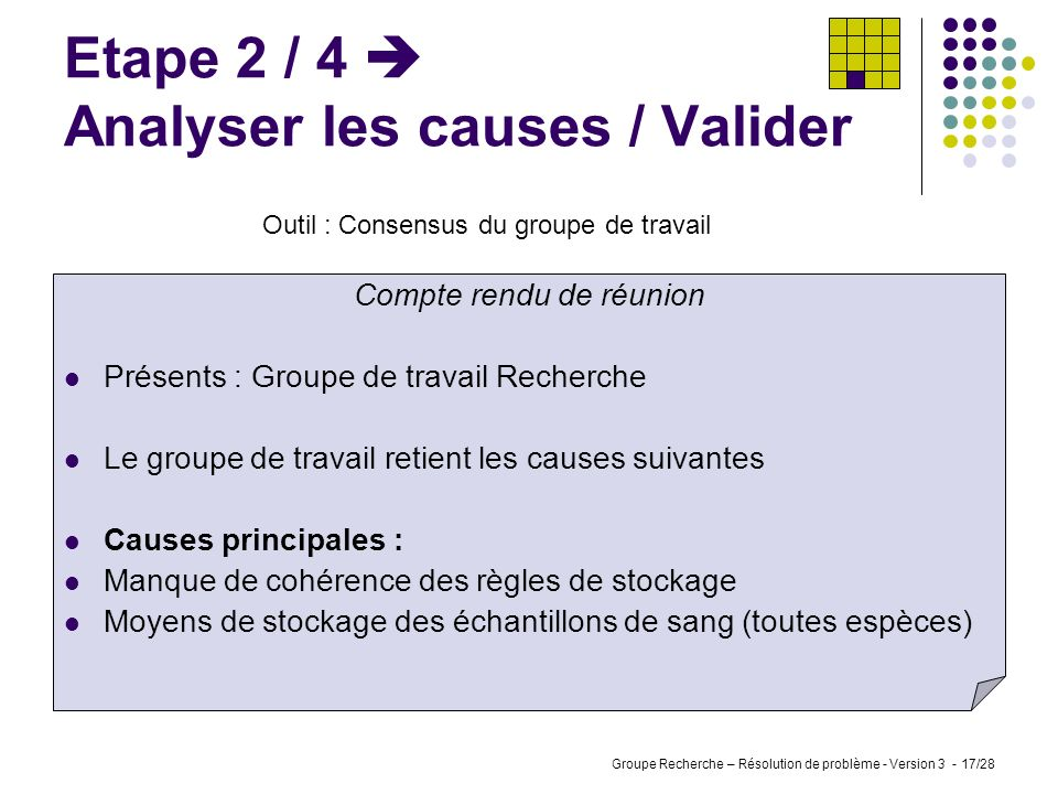Etape 2 / 4  Analyser les causes / Valider