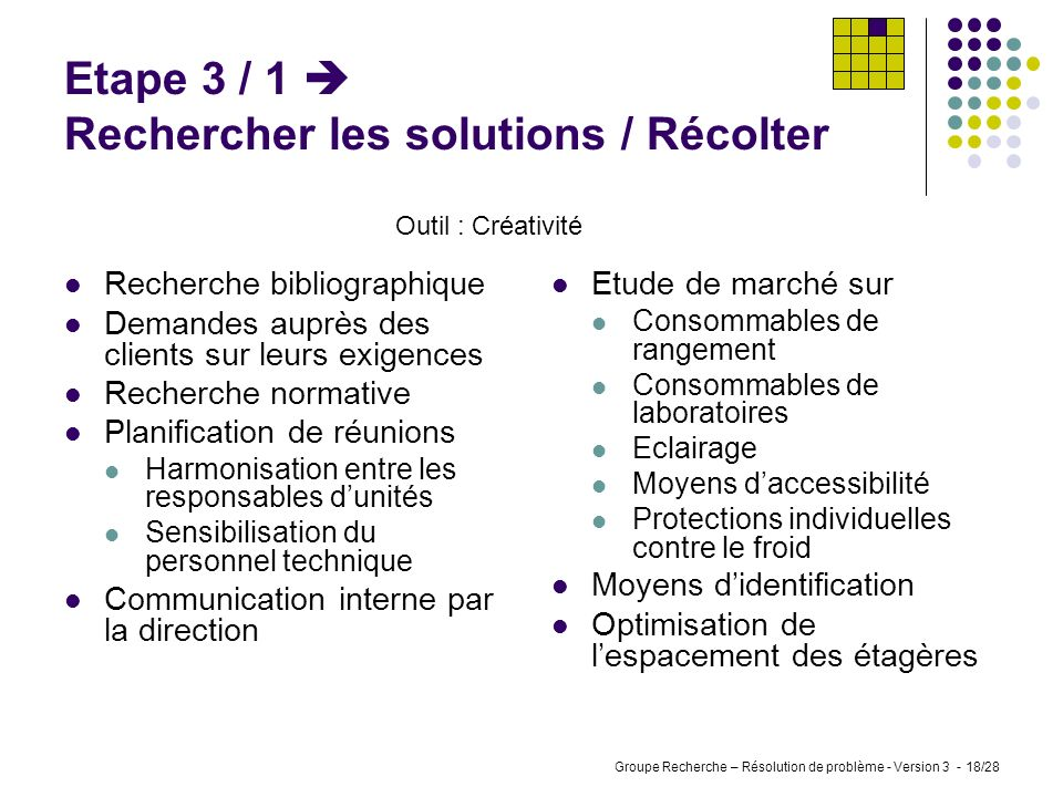 Etape 3 / 1  Rechercher les solutions / Récolter