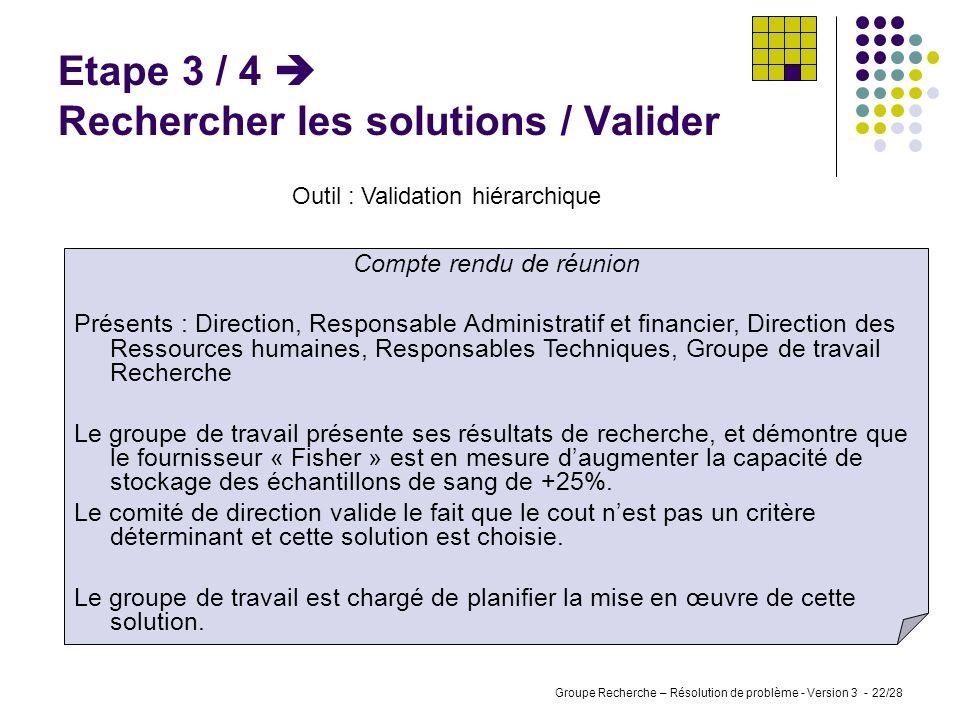 Etape 3 / 4  Rechercher les solutions / Valider