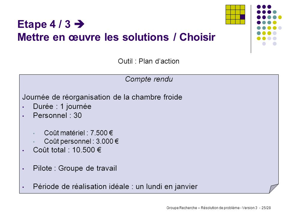 Etape 4 / 3  Mettre en œuvre les solutions / Choisir