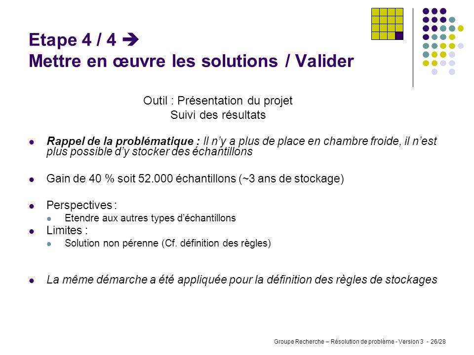 Etape 4 / 4  Mettre en œuvre les solutions / Valider