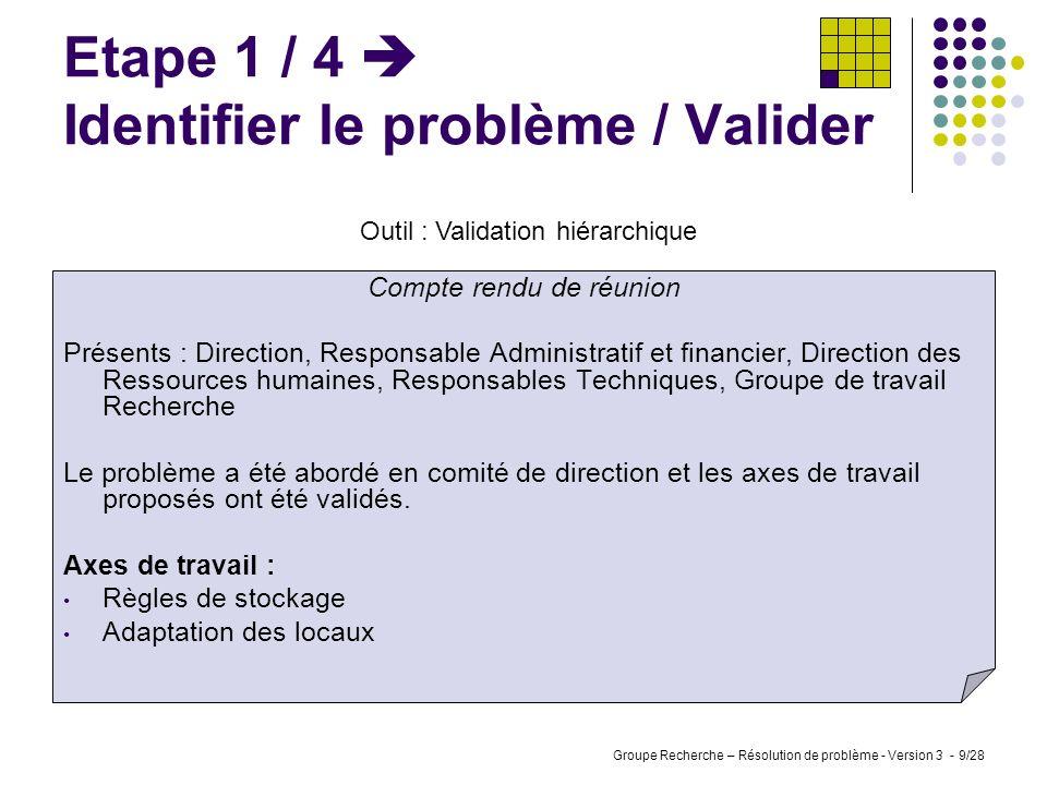 Etape 1 / 4  Identifier le problème / Valider