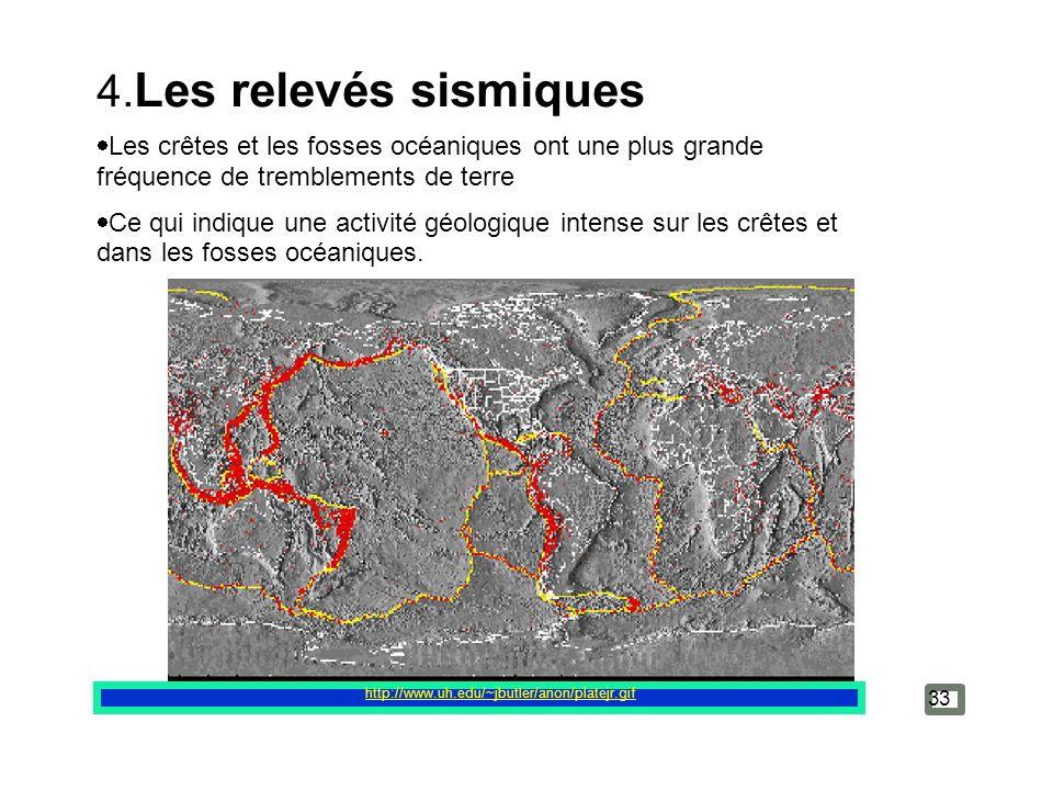 4.Les relevés sismiques Les crêtes et les fosses océaniques ont une plus grande fréquence de tremblements de terre.