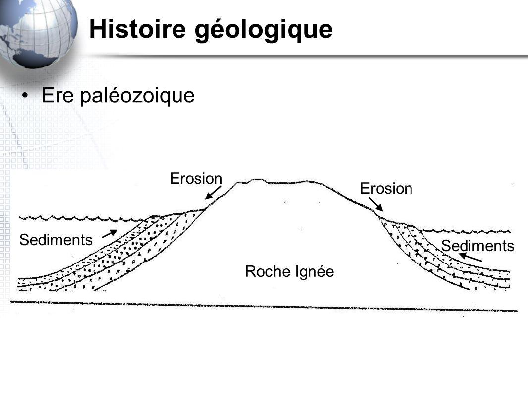Histoire géologique Ere paléozoique Erosion Erosion Sediments
