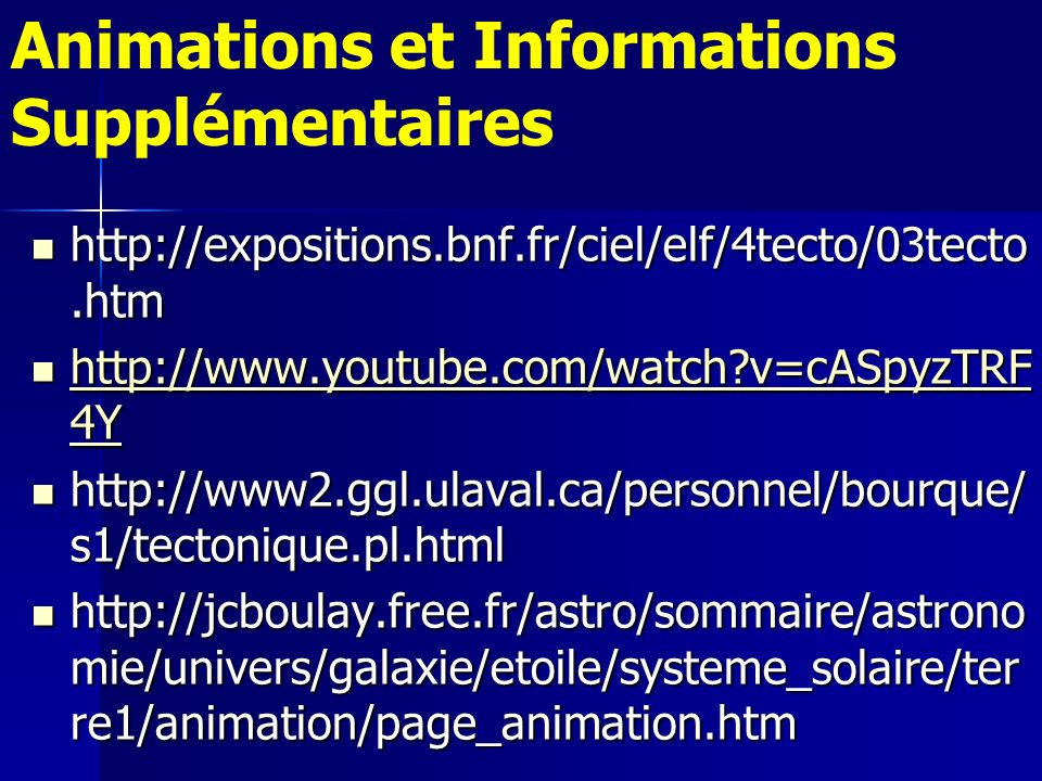 Animations et Informations Supplémentaires