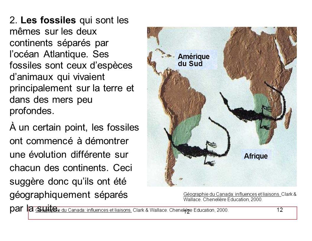 2. Les fossiles qui sont les mêmes sur les deux continents séparés par l'océan Atlantique. Ses fossiles sont ceux d'espèces d'animaux qui vivaient principalement sur la terre et dans des mers peu profondes.