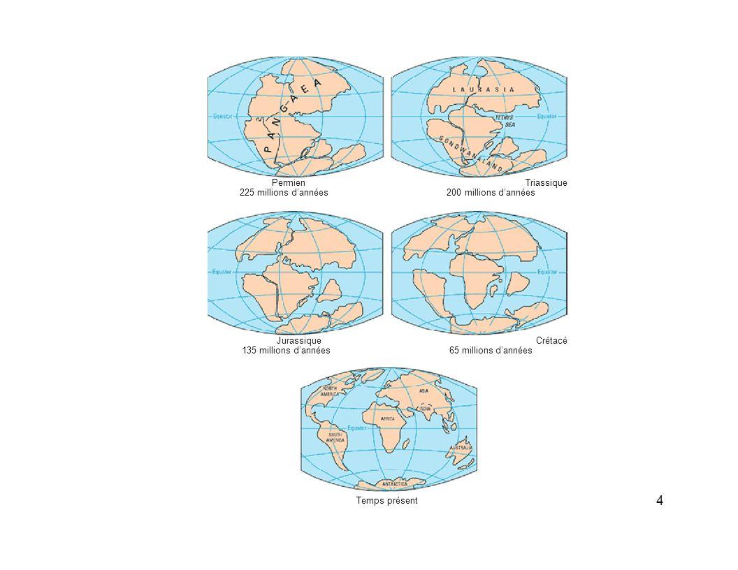 4 Permien Triassique 225 millions d'années 200 millions d'années