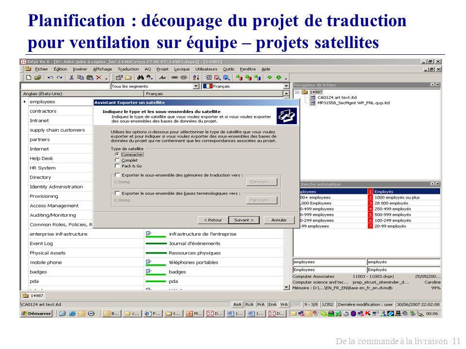 Planification : découpage du projet de traduction pour ventilation sur équipe – projets satellites