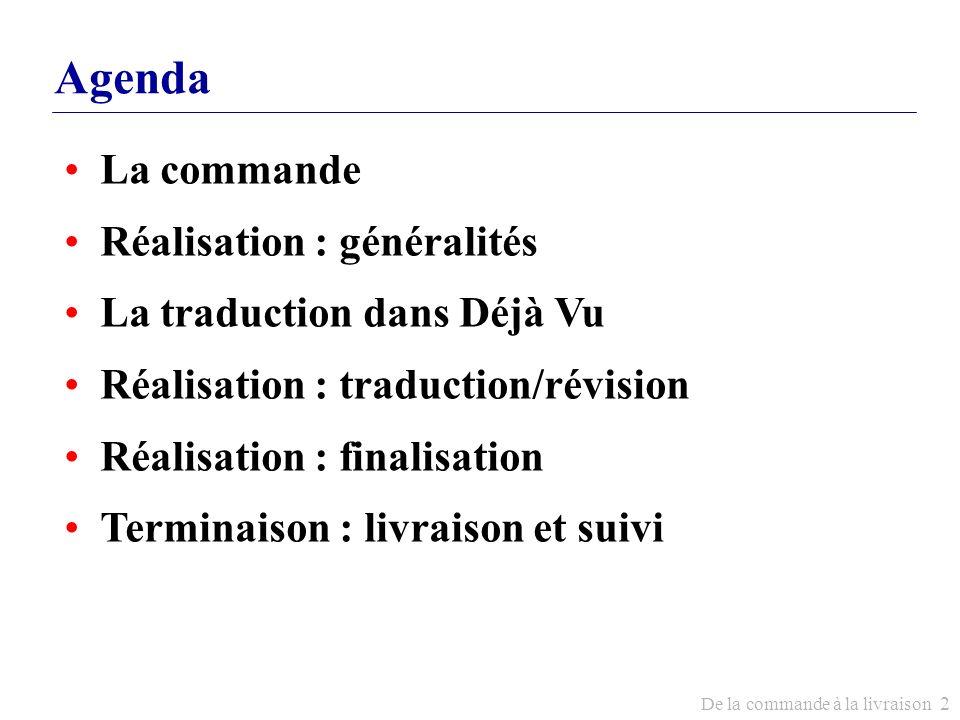 Agenda La commande Réalisation : généralités